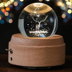 3d Crystal Ball Music Box The Moon Luminous Rotating With Projection Led