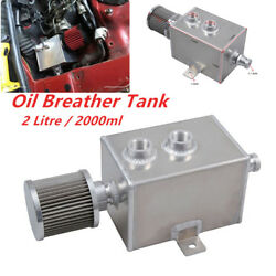 Aluminum 2L Styling Engine Oil Catch Can Tank WBreather&Drain Tap 2LT baffled