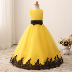 2020 Real Pics Yellow Flower Girl Dresses With Black Appliques Sleeveless