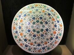 Beautiful Marble Modern Inlay Side Table Floral Multi Stone Designer Arts H4034A