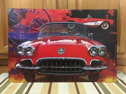 Chevrolet Corvette Convertable Sting Ray Vintage Style Metal Large Chevy Gas 6