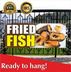 Fried Fish Banner Vinyl / Mesh Banner Sign Flag Crabs Seafood Restaurant Clams