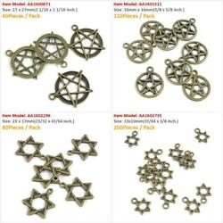Antique Bronze Tone Jewelry Charms Star Of David Mogen Five-pointed Pendant