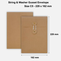 C5 Size Quality String And Washer Envelopes Button Tie Brown Manilla Cheap