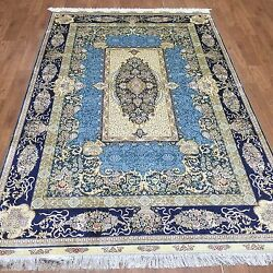 Yilong 5'x8' Blue Medium Pictorial Living Room Carpets Hand Knotted Silk Rugs