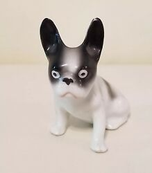 Vintage Erphila Germany Miniature French Bulldog Boston Terrier Dog Figurine