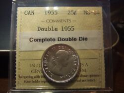 Canada 25 Cents 1955 Double Die, Iccs Ms-64 Double Date