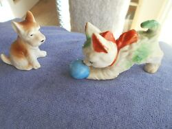VINTAGE MARKED JAPAN CAT WITH BALL AND SCOTTISH TERRIER DOG FIGURINES