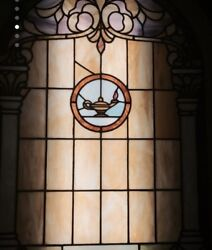 Vintage Stained Glass Window With Arch