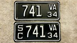 Rare Matching 1934 Virginia Motorcycle And Side Car License Plate Mc And Sc Set
