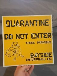 Vintage QUARANTINE Sign Tin Litho Farm Chicken Rooster Cock Hen Eggs Counrty