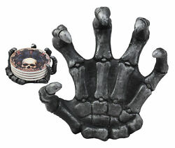 Clutch Of The Dead Skeleton Hand Coaster Figurine Holder With 4 Skull Coasters $26.99