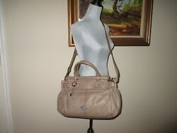 FOSSIL Vintage (Rolled) Large Gray Leather Satchel Crossbody Bag BIG KEY