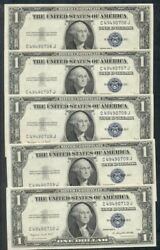 1.00 Silver Certificates 1935g Fr. 1617 5 Consecutive Serial And039s Choice Unc
