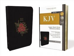 Holy Bible King James Version, Super Giant Print, Reference, Black Leathers...