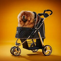3 Wheel Dog Stroller for Large and Medium Dogs with Cup Holders