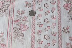 Antique French 1880 Faded Rose Floral Home Stripe Cotton Fabric46x16dolls