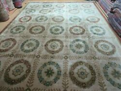 9and039 X 12and039 Modern Hand Made Indo Lahore Wool Rug Art Deco Olive Ivory Nice Wow