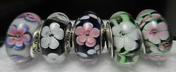 5 Pandora Silver 925 Ale Tropical Forest Flowers Rose Dogwood Glass Beads Charms
