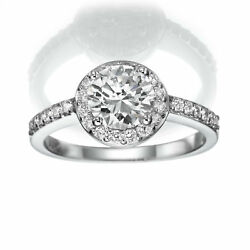 2.55 CT BRIDAL DIAMOND RING HALO MICRO PAVE 18K WHITE GOLD SIZE 4.5 5 6 7 8