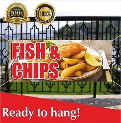 Fish And Chips Banner Vinyl / Mesh Banner Sign Flag Cod Haddock White Deep Fried