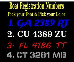 Boat Hull Registration Numbers Decals / Stickers - 3 Inch Tall Letters / Numbers