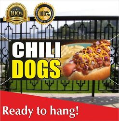 Chili Dogs Banner Vinyl / Mesh Banner Sign Flag Fried French Fries Fish Burger