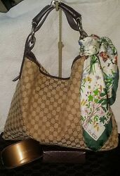 GUCCI GG Monogram Canvas CHAIN HORSEBIT HOBO BAG GMXL plus GUCCI EXTRAS Vintage