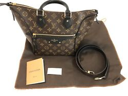 RARE AUTH Louis Vuitton Brown Monogram And Black Leather Handbag And Strap