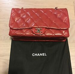 EUC Chanel quilted purse chain bag dark red soft leather 100% authentic