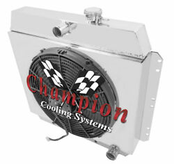 4 Row Ace Champion Radiator W/ 16 Fan And Shroud For 1949 - 1954 Chevrolet Cars