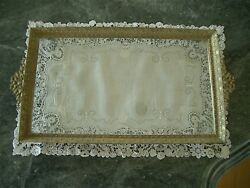 Large Antique Vtg Embossed Brass Glass Vanity Tray Swags Garlands Bows