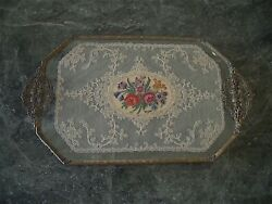 14 Antique Vtg Filigree Brass Lace Petit Point Embroidery Vanity Tray