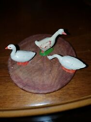 Vintage Lead Toy - Farm Animals - Duck / Goose Lot Of 3. 4