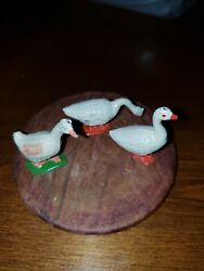 Vintage Lead Toy - Farm Animals - Duck / Goose - Lot Of 3. 2