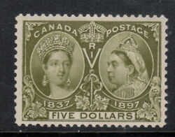 Canada 65 Very Fine Never Hinged Very Light Gum Bend With Certificate