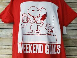 Snoopy Beagle Beer Woodstock Bird Weekend Goals Peanuts Red T Shirt Large NWT