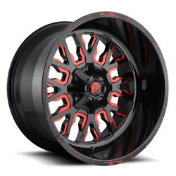SET OF FOUR FUEL WHEELS D612 STROKE 22x12 5x114.3127 -44 GLOSS MILLED RED