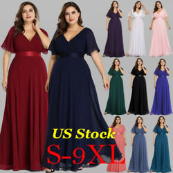 Ever Pretty US Women Plus Size Evening Gowns Double V neck Cocktail Party Dress $39.99
