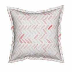 Watercolor Herringbone Candy Pink Spring Flanged Throw Pillow Cover by Roostery