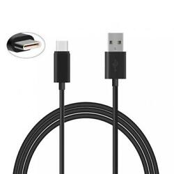 Black 6ft Long Type-c Usb Cable With Turbo Charging Sync Power Cord Usb-c Wire