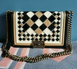 SUPER RARE CHANEL LEATHER PATCH BOY BAG WITH LONG METAL CHAIN LIMITED VERSION!!!