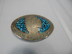 Vintage Indian Chief Terquoise Silver Belt Buckle By Russell's Jewelry