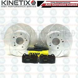 FOR HONDA INTEGRA TYPE R DC5 FRONT DIMPLED GROOVED BRAKE DISCS TEXTAR PADS 300mm