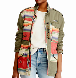 Polo Military Army Repair Patchwork Southwestern Aztec Field Jacket