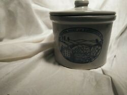 Columbia Biscuit And Manufacturing Co Stoneware Biscuit Jar With Lid