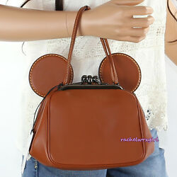 NWT Disney X Coach Mickey Mouse Brown Leather Crossbody Kisslock Bag 37980 NEW