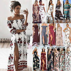 Womens Maxi Boho Floral Summer Beach Long Slit Evening Cocktail Party Sun Dress
