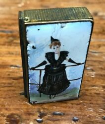 Rare Antique Enamel Victorian Brass Vesta Case With French Woman And Carved Name