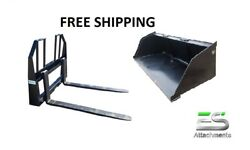 Es New 78 Snow/mulch Bucket And Walk Through Pallet Forks Combo Skid Steer
